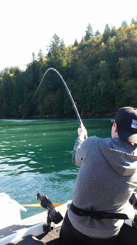 Harrison River - Jesse fishing Sturgeon (bent rod)